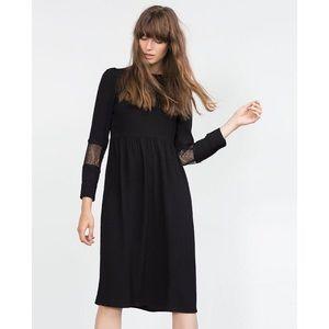 Zara Black Midi Dress With Lace Appliqué